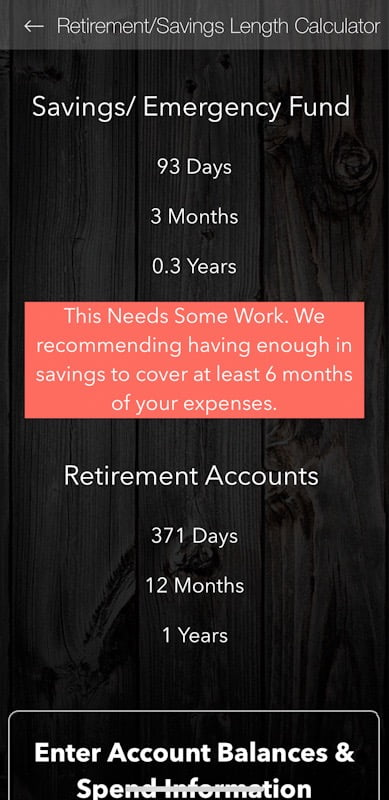 Retirement Savings Length Calculator FIRE App