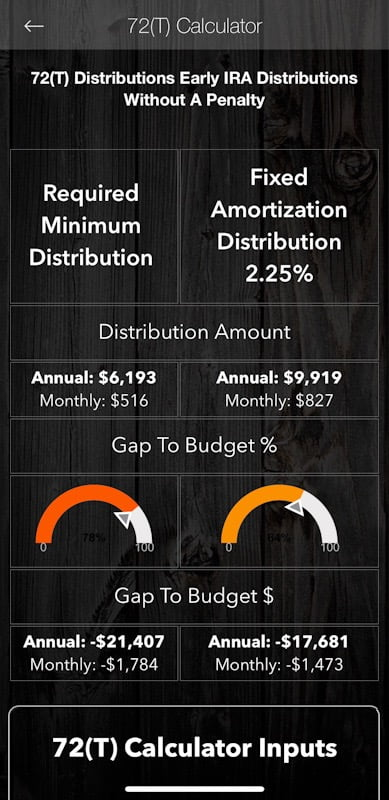 72T Early IRA Distributions Calculator FIRE App