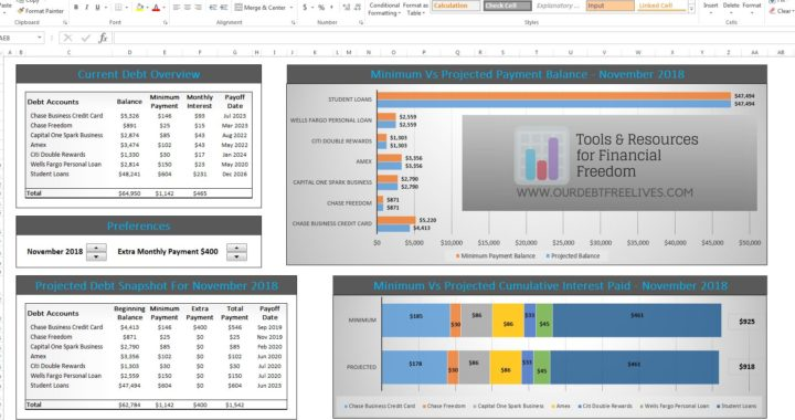 excel calculators debt free to early retirement